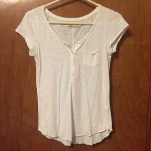 White pocket T-shirt with buttons